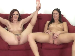 Karlie and Anna slurp a little pussy before they start sticking in toys