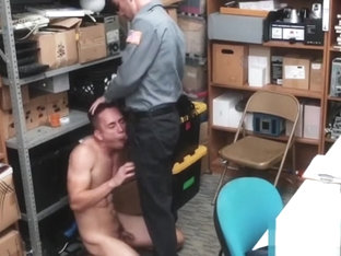 Muscular perp riding raw police dick after blowjob