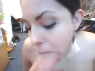 Excited To The Max Whore Performs Blowjob Inside The Kitchen