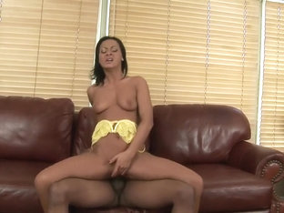 Long-legged cutie Sandra Romain lets a hung black dude bang her