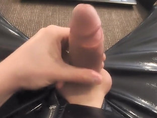 Cumming all over my shiny PVC outfit