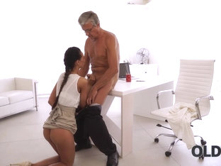OLD4K. Tanned brunette facialized after amazing sex with old boss