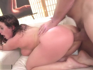 Angela White Sucks Her Own Tits As She's Fucked In The Ass