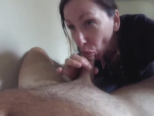 cocksucking slut finishes drinking cumshot