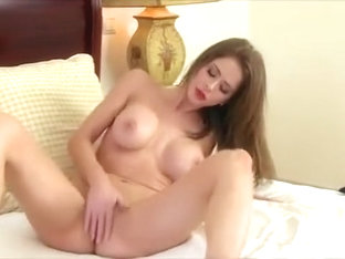 Stunning brunette beauty Emily Addison cums on her fingers