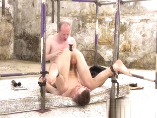 Restrained homo Johnny Polak anally reshaped with big toys