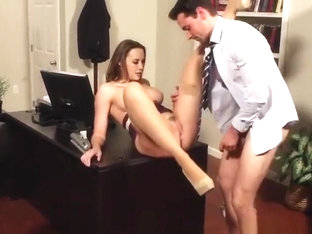 Comely dusky Chanel Preston having fun in stockings