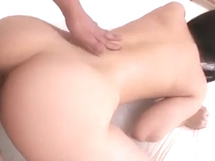 Hina Maeda bent over her puffy pussy in panties played with.