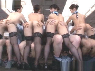 Four japanese slutty stewardess giving a blowjob to the VIP passengers