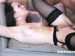 Sexy brunette in black stockings and garter belt, Blue Angel is fucking her colleague from work