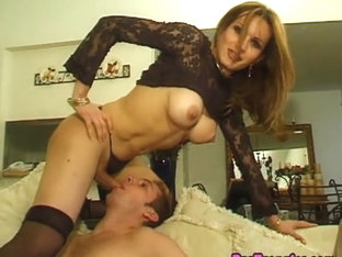 Alluring trans babe receives a blowjob