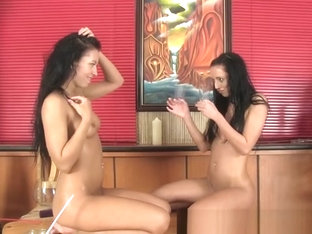 Brunette babes enjoy some seriously fun lesbian piss drinking
