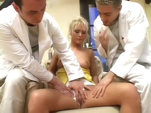 Two doctors check out a blonde patient and give her stiff cock for their diagnosis