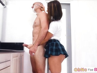 Hot babe Evelin Stone gobbles a lucky bigcock