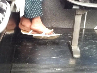 Candid mature feet in flip flops pt 3