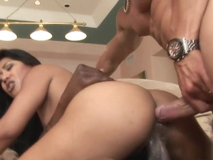 Layla Lei gets a black and white pair of dicks giving a DP and loads of cum