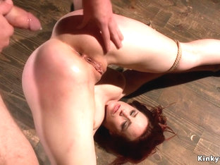 Babe locked in metal stock rough banged