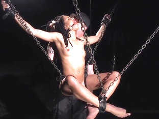 Chained And Suspended Ebony Slave Tormented