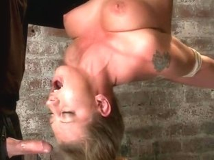 Bound in a reverse strappado, Skull fucked, nipple torturedMade to cum while totally helpless.