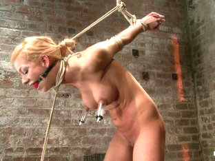 Stappado'd, Elbows Together, Legs Spread, Nipples Clamped  Weighted, Flogged, Made To Cum  Suffer .