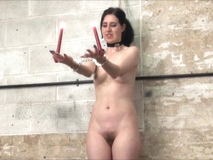 Electro bdsm and rigid bondage of slave Honesty Calliaro in tit torments and cruel electric shock .