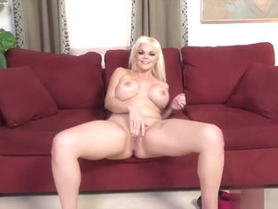 Curvy blonde angel gives a racy BJ